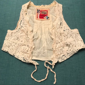 Free People Floral Lace Cropped Vest